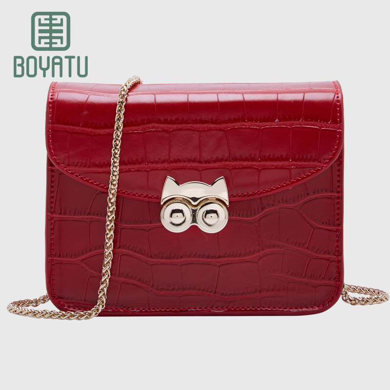 BOYATU Genuine Leather Messenger Bags Brand Sac Chain Solid Shoulder bag women Designer Small Crossbody Bag Cat's Eye Purse teridiva women bags fashion brand famous designer mini shoulder bag woman chain crossbody bag messenger handbag bolso purse