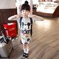 Новая мода дети платье полосатый Блесток микки платье для девочек летней одежды с коротким рукавом причинно платья для девочки