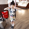 New fashion kids dress striped Sequin mickey dress for girls summer clothes short sleeve causal dresses for baby girl