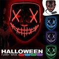 Маска на Хэллоуин LED Maske Light Up Party EL Masks Neon Maska Cosplay Mascarillas Horror Mascarillas светящаяся в темноте батарея DC 3V