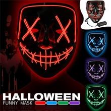 Маска на Хэллоуин СВЕТОДИОДНЫЙ маска для вечеринки вечерние EL маски неоновая Маска Косплей тушь для ресниц Ужасы Mascarillas Светящиеся в темноте DC 3 V батарея драйвер