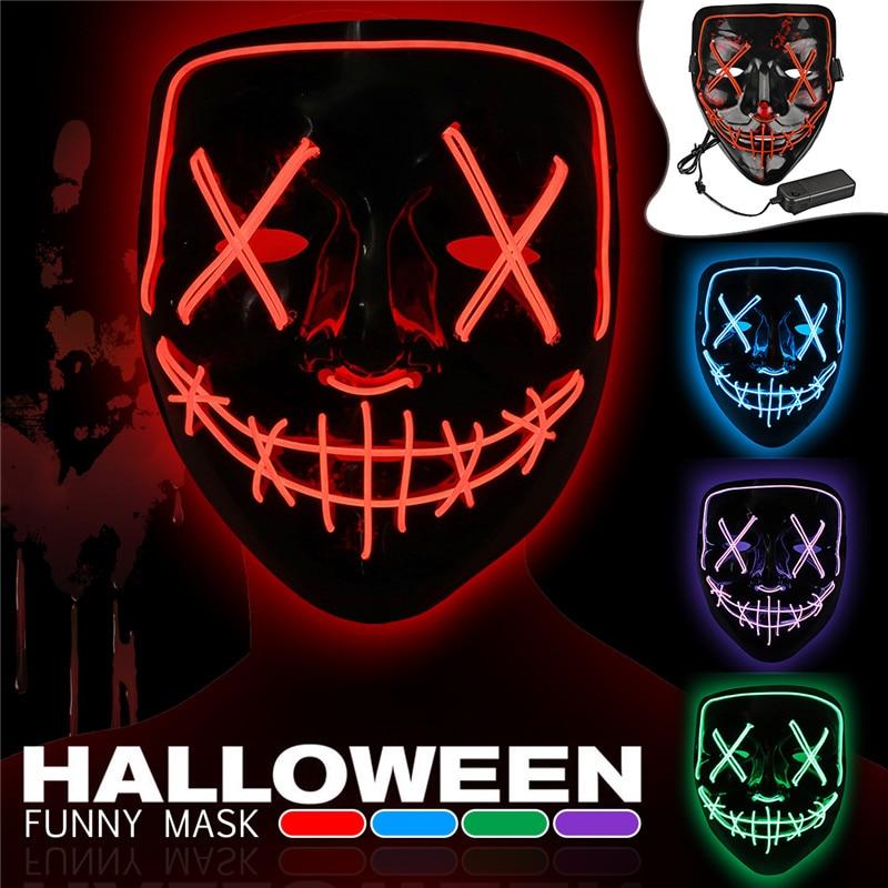 Halloween Maske LED Maske Licht Up Party EL Masken Neon Maska Cosplay Mascara Horror Mascarillas Glow In Dark DC 3 V batterie fahrer