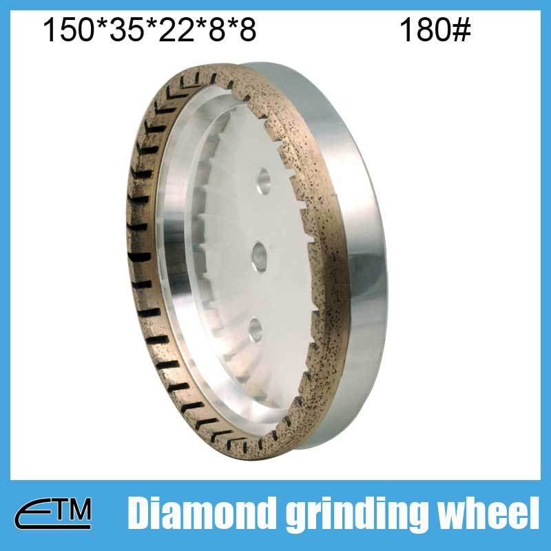 10pcs 2# half segmented glass edging wheel metal bond diamond abrasive wheel 150*35*22*8*8 grit 180# BL008