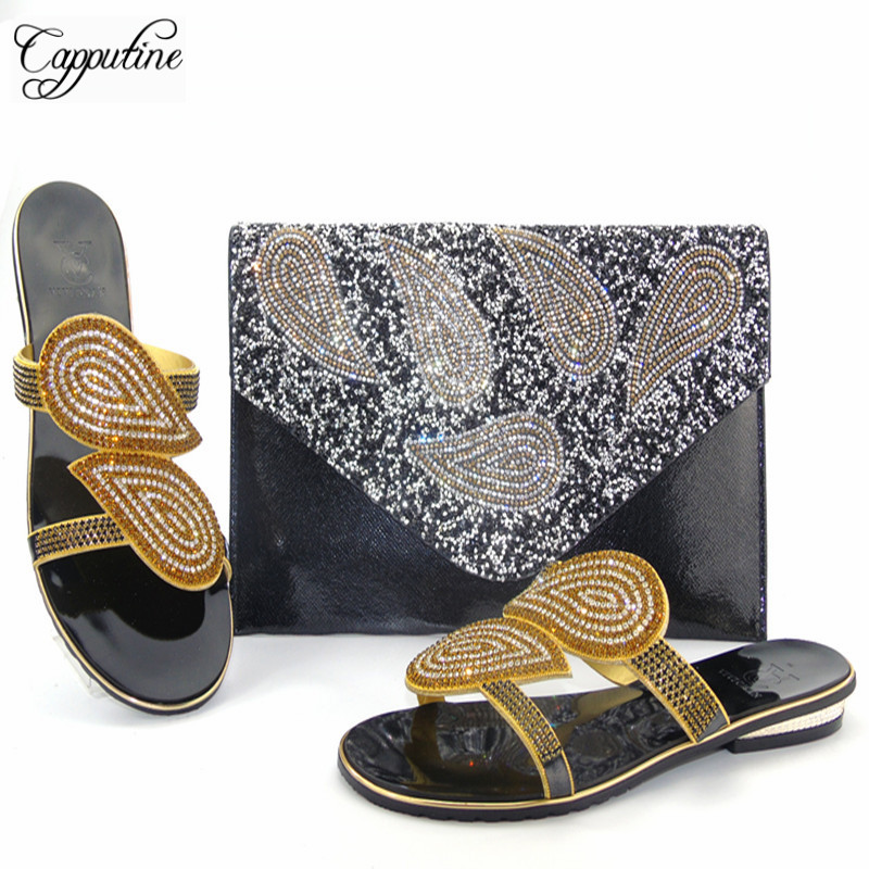 Capputine African Style Woman Shoes And Purse Set Summer Woman Low Heels Shoes And Matching Bag Set For Party Free Shipping capputine summer style africa low heels woman shoes and bag fashion slipper shoes and purse set for party size 38 42 tx 8210
