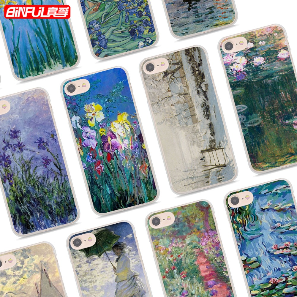 BiNFUL Claude Monet Classic oil painting style clear Ultra Thin Phone Cases Cover for Ap ...