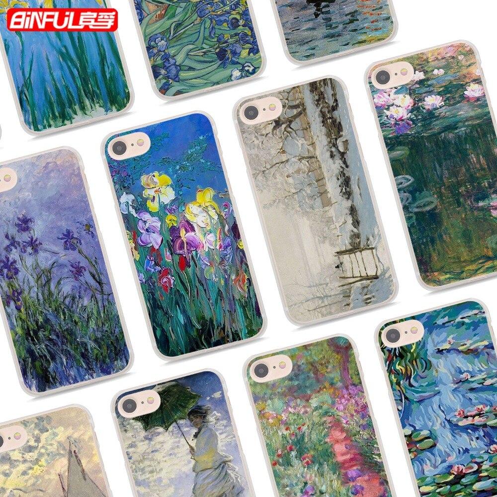 Binful Клод Моне классический стиль картины маслом Ясно ультра тонкий телефон случаях Обложка для Apple iPhone 7 7 плюс 6 S 6 плюс 5 5S x 8 8Pl ...