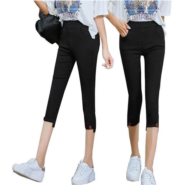 8cf9931de8a1 VANLED High Quality 2018New Style Summer Women Pants Fashion Casual Solid  Slim Thin Black White Pantalon