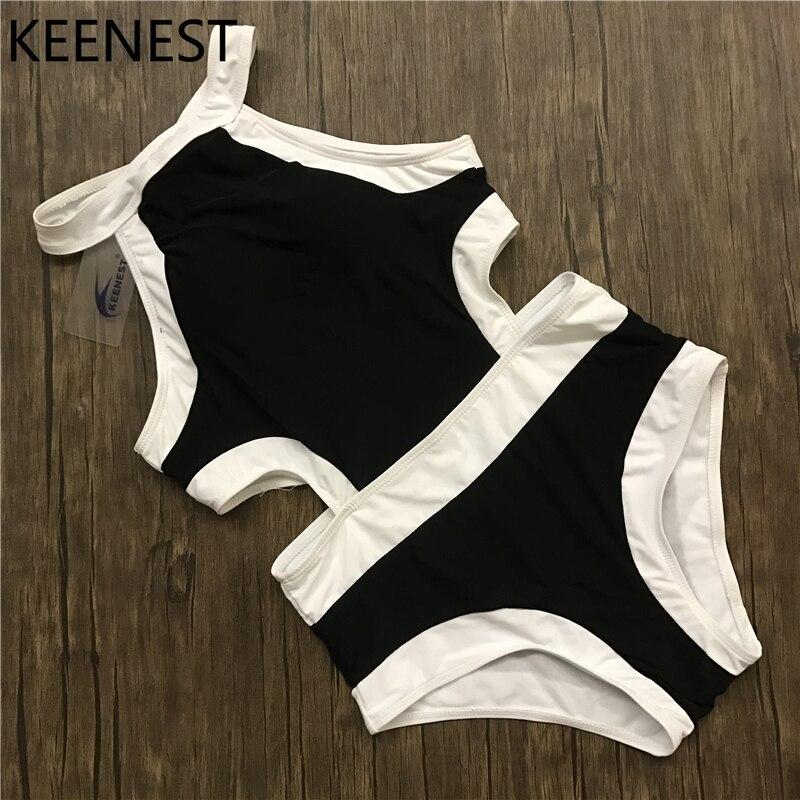 KEENEST גמישות גבוהה סקסי Bodysuit חתיכה אחת בגד ים טלאים Monokini נשים בגד ים חוף בגדי ים בגדי ים