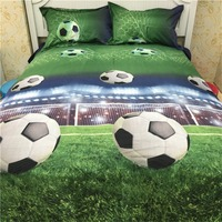 LumiParty 4 PCS 3D Football Bedding Sets Quilt Duvet Cover Bed Sheet Pillowcase Creative Personality