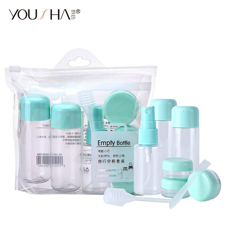 YOUSHA Travel Bottle Set Spray Bottle Shampoo Empty Cosmetic Containers Refillable Pump Essential Oil Plastic Cream Jar Atomizer
