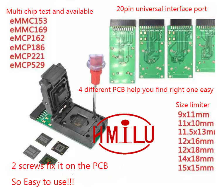 EMMC153 169 EMCP162 186 EMCP221 EMCP529 socket 6 in 1 data recovery tools  for android phone eMMC programmer Socket faster speed