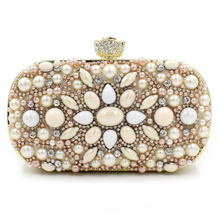 Luxurious Beaded Women Messenger Bags Handmade Style Rhinestones Vintage Chain Shoulder Bag For Wedding/Dinner/Party