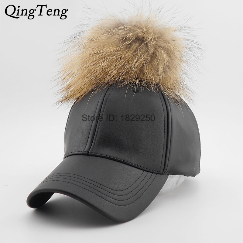 fitted brown leather baseball cap caps real mink pom poms font hat