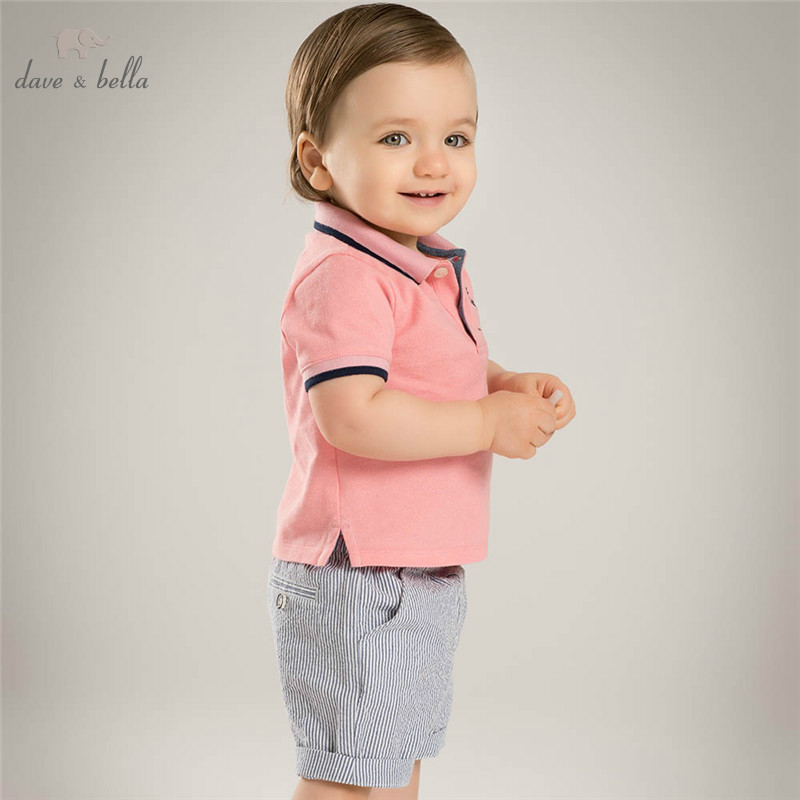 DB4570 dave bella summer baby boys clothing sets pink top grey shorts 2pc child set infant clothes kids sets baby costumes