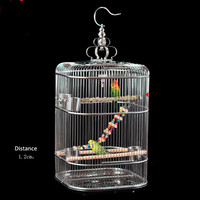 Rounded height square large stainless steel thrush bald eagle cage encryption silk parrot bird cage