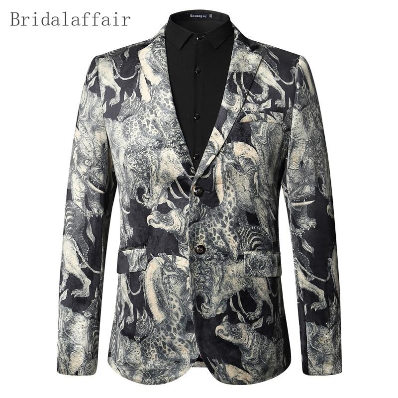 2017 Kostüme Blazer Männer Floral Jacke Tier Gedruckt Blazer Prom Party Abendessen Hochzeit Smoking Leistung Kleidung Männer Anzug Mantel Klar Und GroßArtig In Der Art