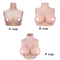 KOOMIHO Silk Cotton C/D/F Cup Silicone Breast Forms Half Body Fake Boobs Transgender Drag Queen Shemale Crossdresser Breast 1G