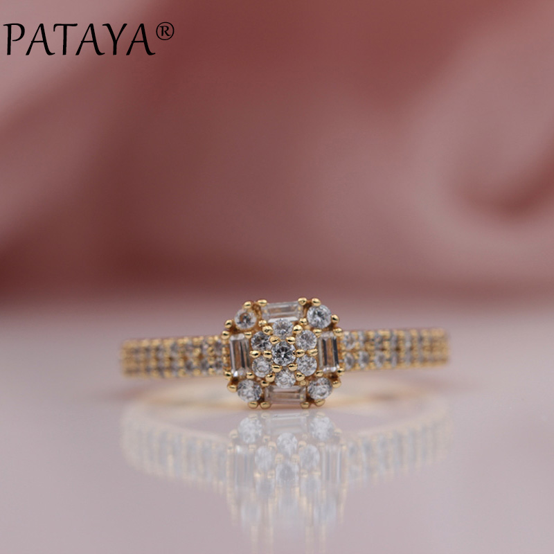PATAYA New 585 Rose Gold Cute Micro-wax Inlay Square Round White Natural Zircon Rings Women Wedding Party Luxury Fine Jewelry