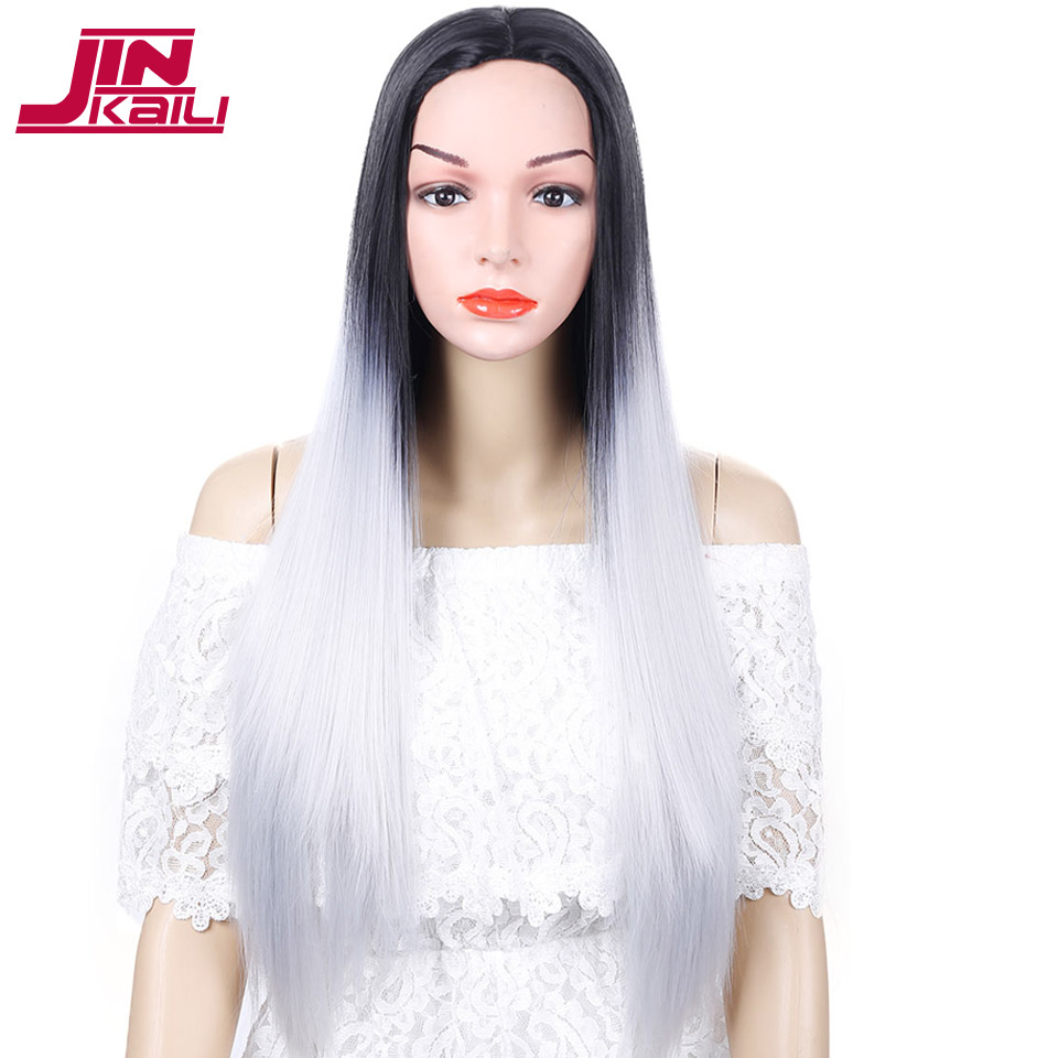 JINKAILI WIG Long Staight Black and Blue Grey Pink Green Wigs for Women Heat Resistant Synthetic Hair Pieces