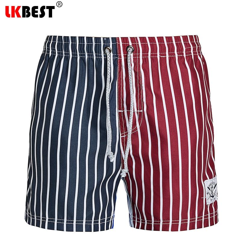 LKBEST pantalones cortos de moda para hombre de rayas de secado - Ropa de hombre