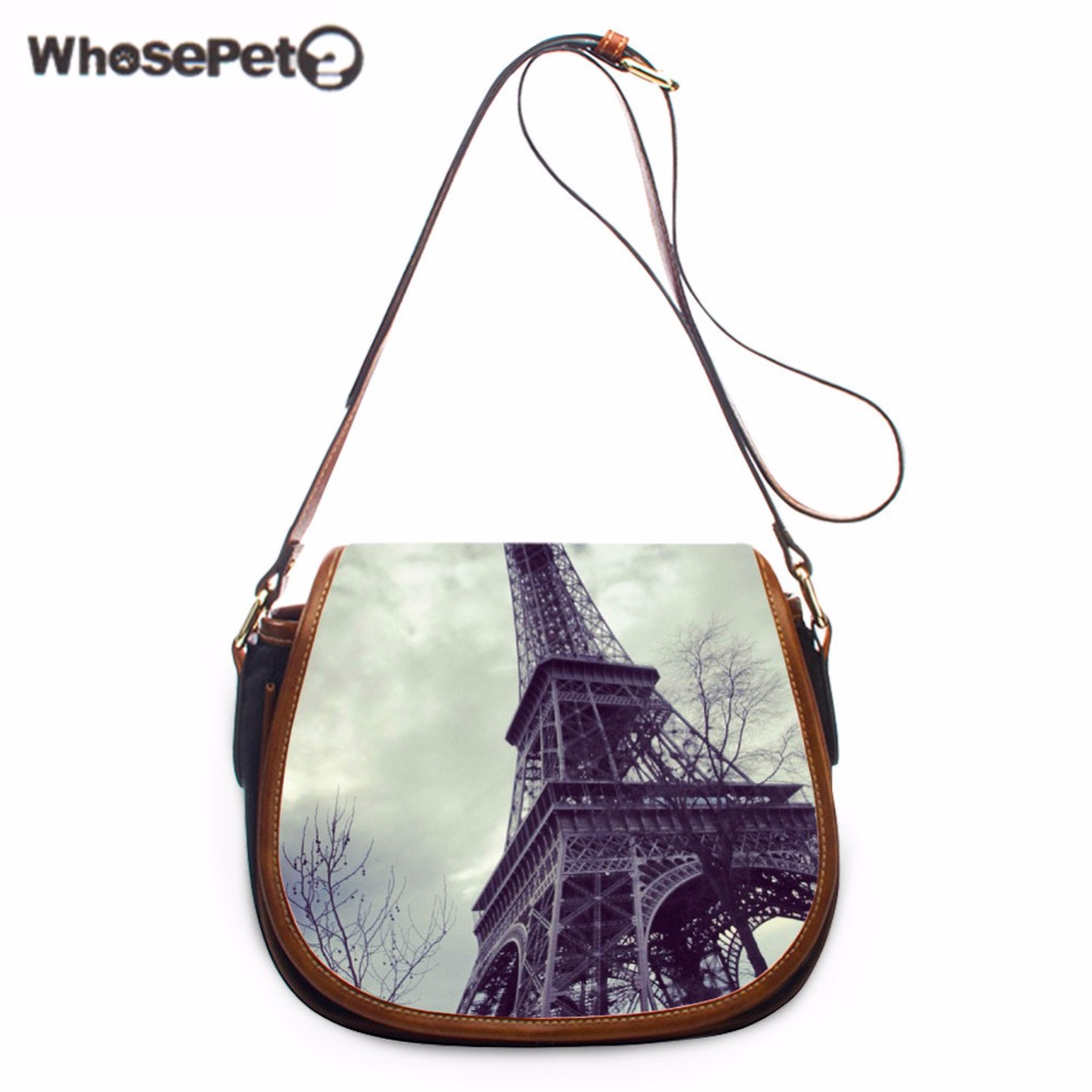 WHOSEPET Eiffel Tower Small Phone Coin Messenger Purse Iphone Crossbody Bag Travel Small Satchel Shoulder Bags Pu Storage Bag yiyohi women fashion pu fight color small shoulder bag star messenger storage bag gril crossbody bag 5 5 inch mobile phone bag