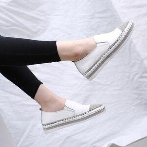 Image 2 - 2019 נשים של נעלי בד דירות נעלי עור אמיתי נעלי מוקסינים לנשים קריסטל אופנה תלמיד דייג הנעלה נעליים