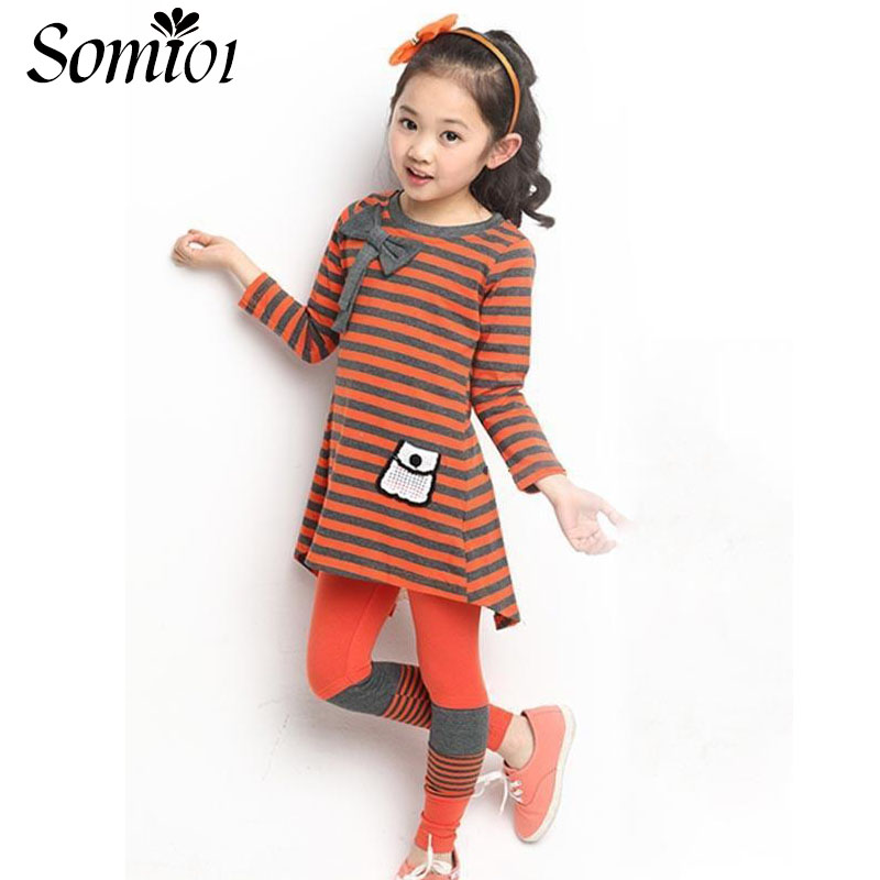 2017 Spring Autumn New Little Girls Sports Suit Striped Long-sleeved T-shirt Tops + Leggings Pants Toddler Kids Casual Clothing