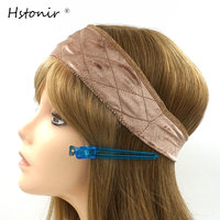 Hstonir Jewish Velvet Lace Grip Front Band With European Hair Invisible Kosher Wig Glueless Elastic Natural