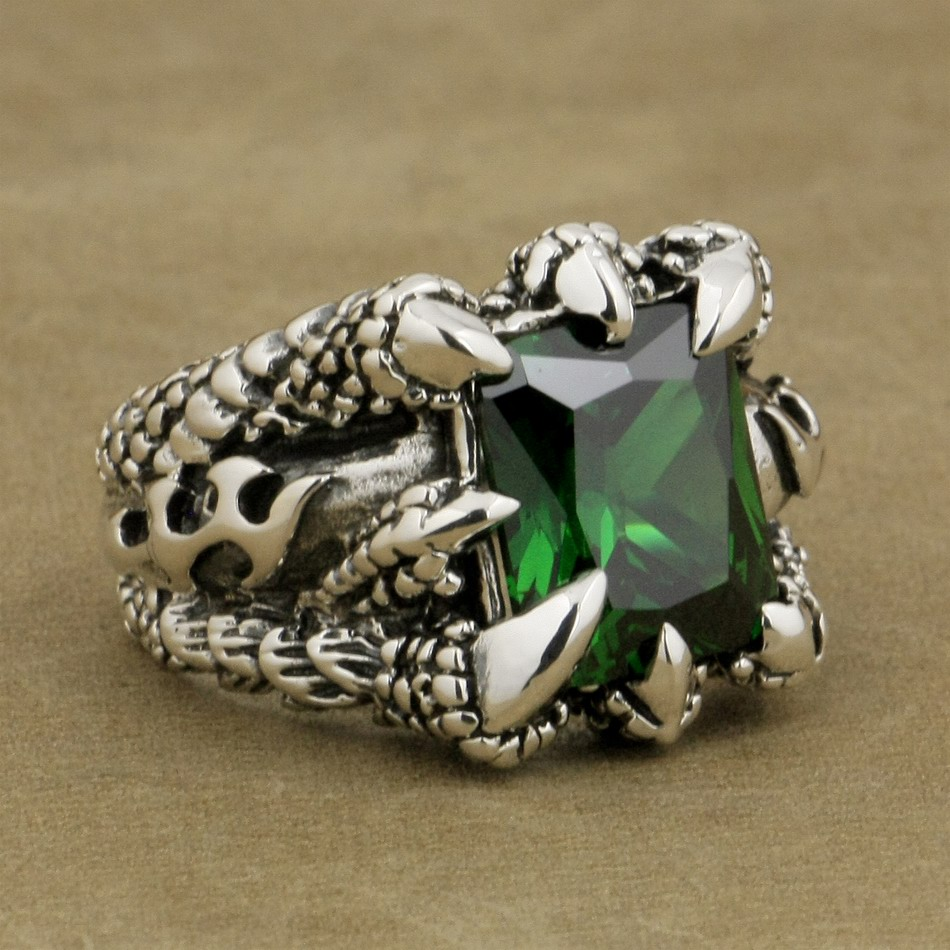 LINSION 925 Sterling Silver Huge Green CZ Stone Dragon Claw Ring Mens Biker Punk Style 8T402 US Size 7.5~14 цена