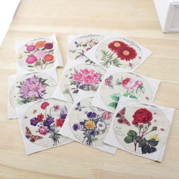 ✅Pequeño vintage floral DIY fieltro tela percal muñecas de tela ...