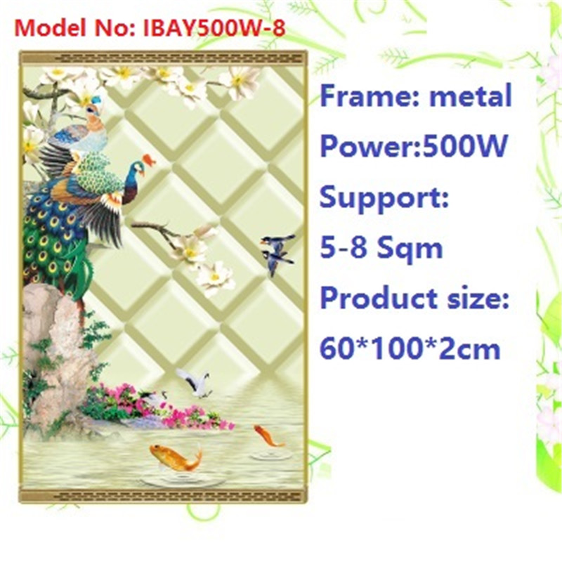 N500W-8,2 PCS/lot,no dry air,wall mount crystal,warm wall with picture,Infrared heater,carbon crystal heater,with thermostat