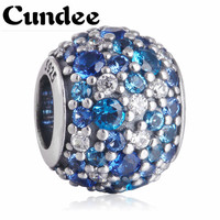 Fits Pandora Bracelets Blue Crystal CZ Charms 925 Sterling Silver Beads 2015 Summer For Women Bracelets