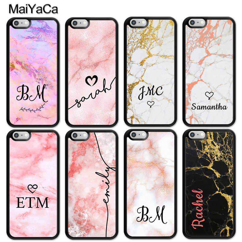 info for 6bab4 fad76 MaiYaCa Personalised Name Marble Rose Gold Custom Initials Phone Cases For  iPhone 6 6S 7 8 Plus XS Max XR 5S SE Back Cover Coque