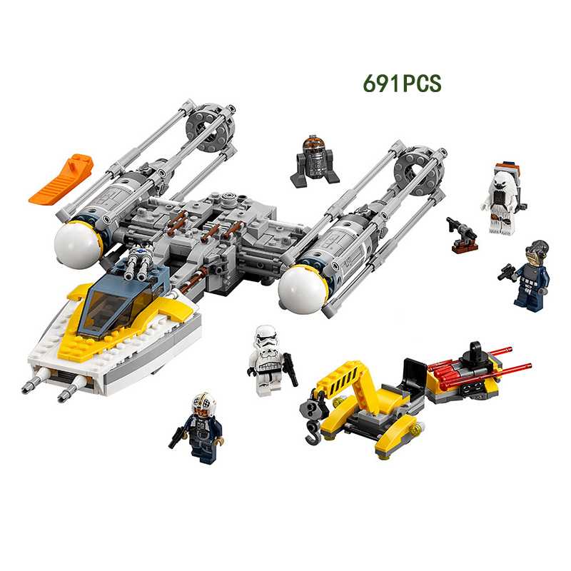 2017 star space wars Rogue One Y-wing starfighter block fighter model mini stormtrooper Chewbacca figures lepine brick 75172 toy умные часы apple watch sport корпус 42 мм из серебристого алюминия белый спортивный ремешок