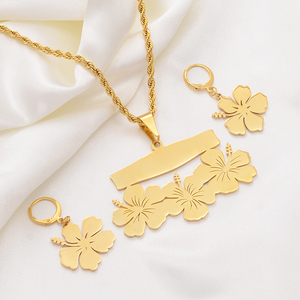 Image 5 - Anniyo collier et boucles doreilles avec nom personnalisable micronésie Guam, ensembles de bijoux à fleurs hawaïennes, pour lettres imprimées, cadeau danniversaire #107321