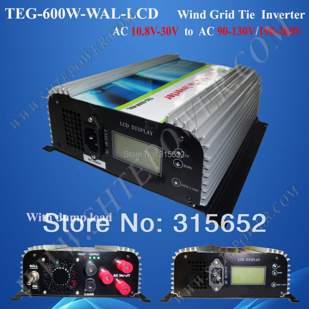 3 Phase 600W On Grid Inverter With Dump Load for Wind Turbine System AC 10.8V-30V Input 2000w wind power grid tie inverter with limiter dump load controller resistor for 3 phase 48v wind turbine generator to ac 220v