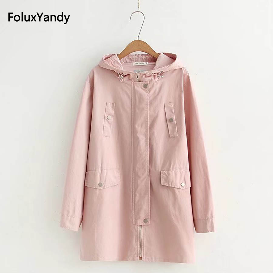 Plus Size Women Trench 3 XL Casual New Autumn Hooded Long Trench Coat Outerwear Pink Blue KKFY218
