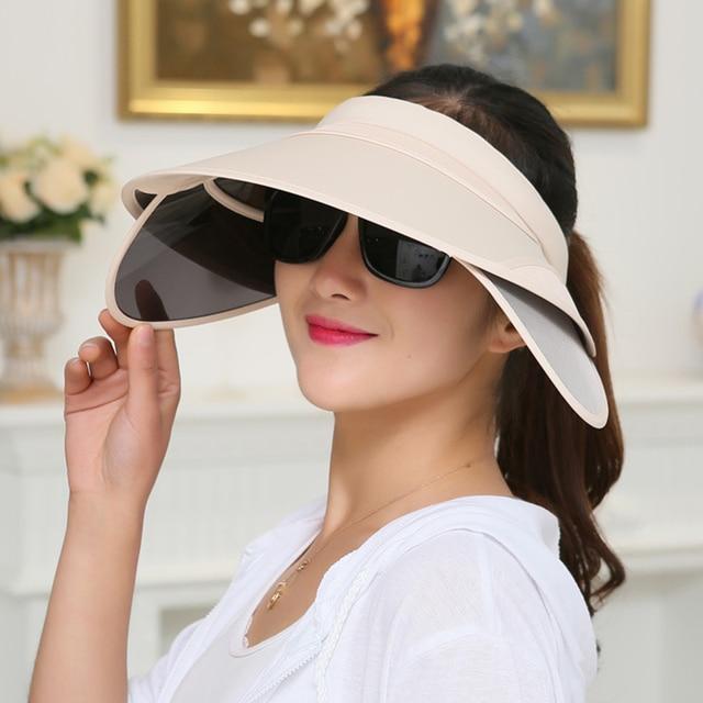 ff0b448ed83 BONJEAN 2017 New Fashion Men Women Topless Visor Hat Outdoor Summer Cotton Cap  Anti-UV Plastic Sun Visor Hat foldable