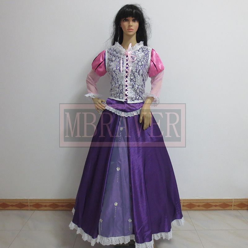 Custom-made Tangled Cosplay Rapunzel Princess Dress Costume Any Size