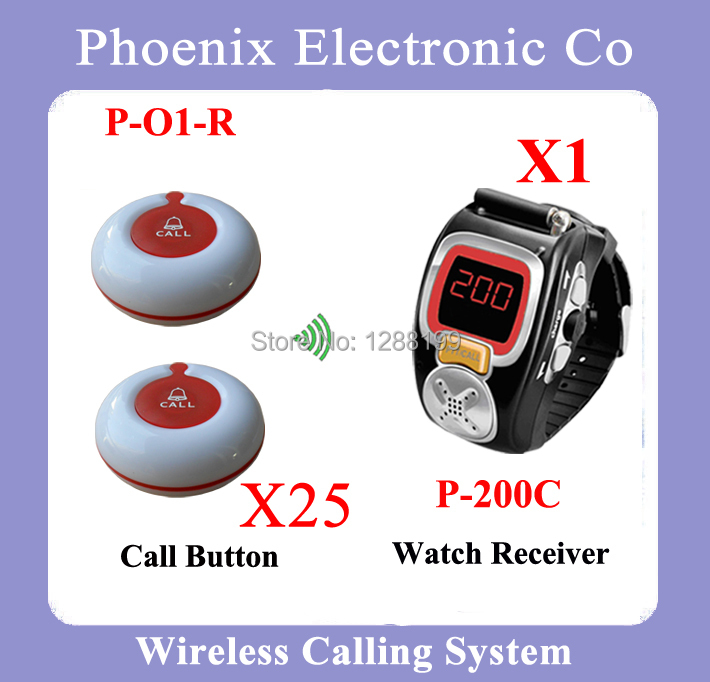Wrist Watch Wireless Call Calling System Waiter Service Paging System Call Table Button Single-key for Restaurant P-200C-O1 1 watch receiver 8 call button 433mhz wireless calling paging system guest service pager restaurant equipments f3258