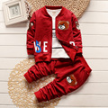 2016 Autumn Baby Boys Jacket T Shirt Pants 3pcs/set Coat Cartoon Bear Letter Fashion Style Kids Gentleman Children Suit