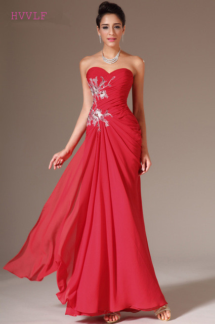 Red Evening Dresses 2018 Mermaid Sweetheart Chiffon Lace Appliques ...