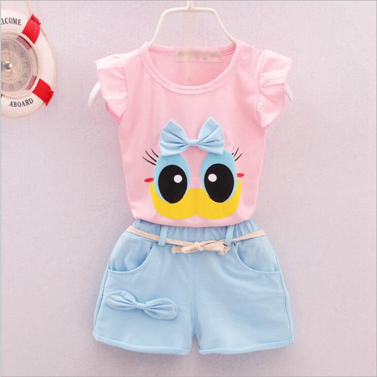 Fashion Brand Summer Infant Baby Girls Clothes Sports Lovely Long Eyelashes Toddler Girl tops Pants Girls Suit Kids Clothes