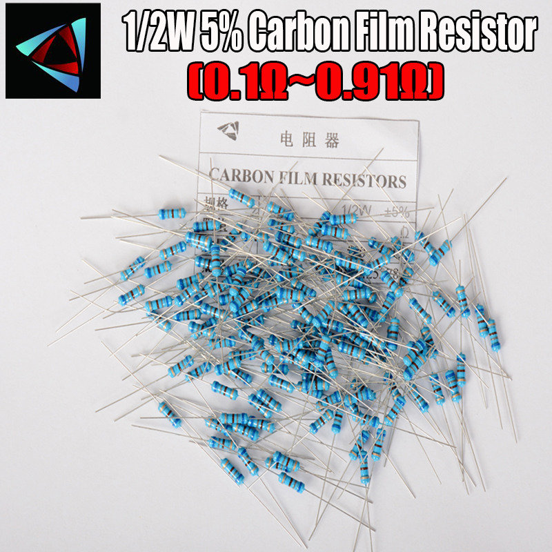 50pcs 1/2W Carbon Film Resistor 5% 0.1R ~ 0.91 0.12 0.15 0.22 0.24 0.7 0.3 0.33 0.36 0.39 0.43 0.47 0.5 0.56 0.62 0.68 0.75 OHM