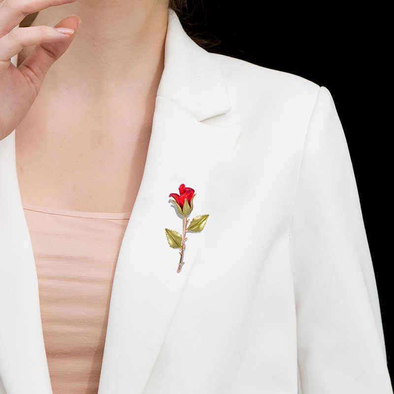 Blucome Tembaga Merah Mawar Merah Muda Bunga Bros Wanita Pria Fashion Logam Tanaman Enamel Pernikahan Pesta Perjamuan Bros Kerah Pin