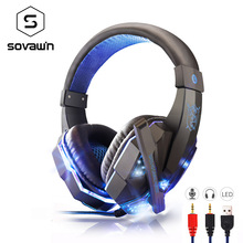 Cheap price Bass HD Gaming Headset Mic Stereo Sound Gamer Over-ear Headband Headphone Noise Cancelling with Microphone for PC Game Glow LED