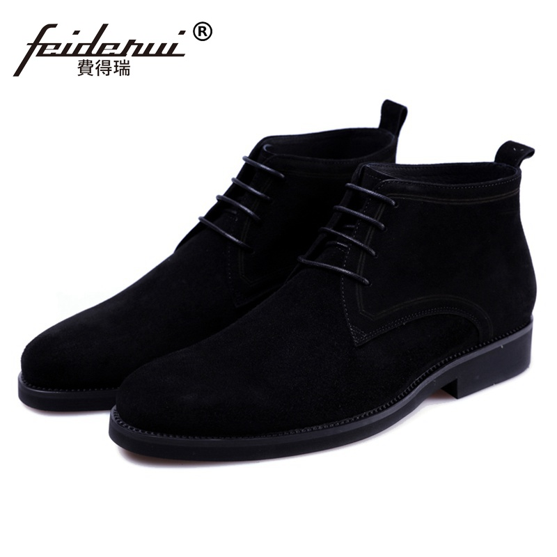 New Fashion Genuine Leather Handmade Man Formal Dress Shoes Round Toe Lace up Cow Suede Men's Cowboy Martin Ankle Boots JS220 mens fashion business watch men ochstin brand genuine leather super slim casual quartz wristwatch relojes hombre