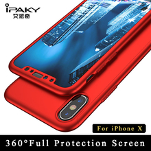 For Apple iphone X case iPaky Brand 360 Full coque For iPhone x silm case For iPhone 10 Ultra Thin PC Cover For iphonex cases