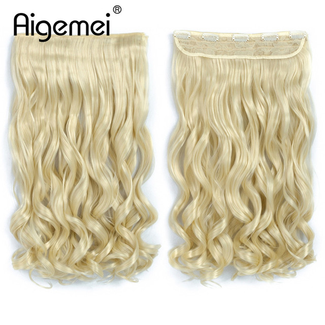 Aigemei 5 Clip In Hair Extension Heat Resistant Fake Hairpieces Long ...
