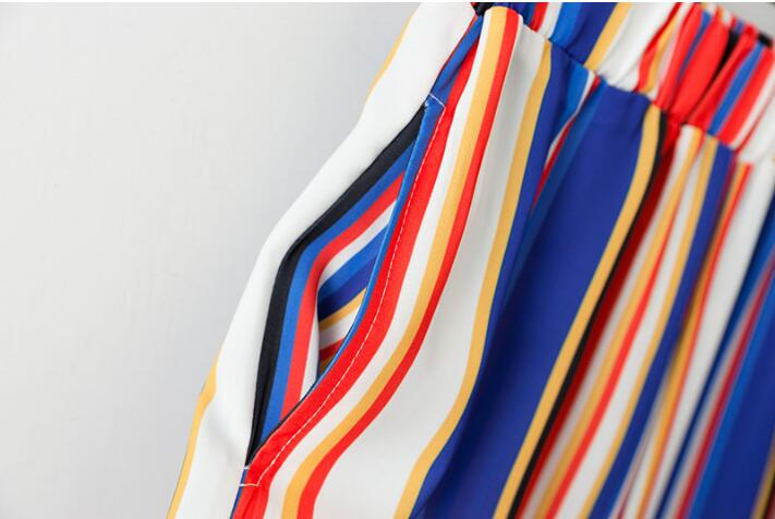 Chic Rainbow Colored Striped Print Wide Leg Pants 2018 Woman Elastic High Waist Ankle-Length Casual Loose Trousers 6